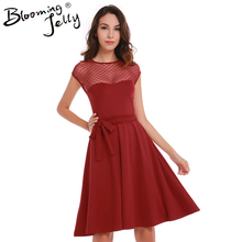Heart Pattern Gauze Mesh Summer Dress Patchwork Swing Cocktail Bow Belt Women Little Black Dress 2017 Fashion Women Clothing New