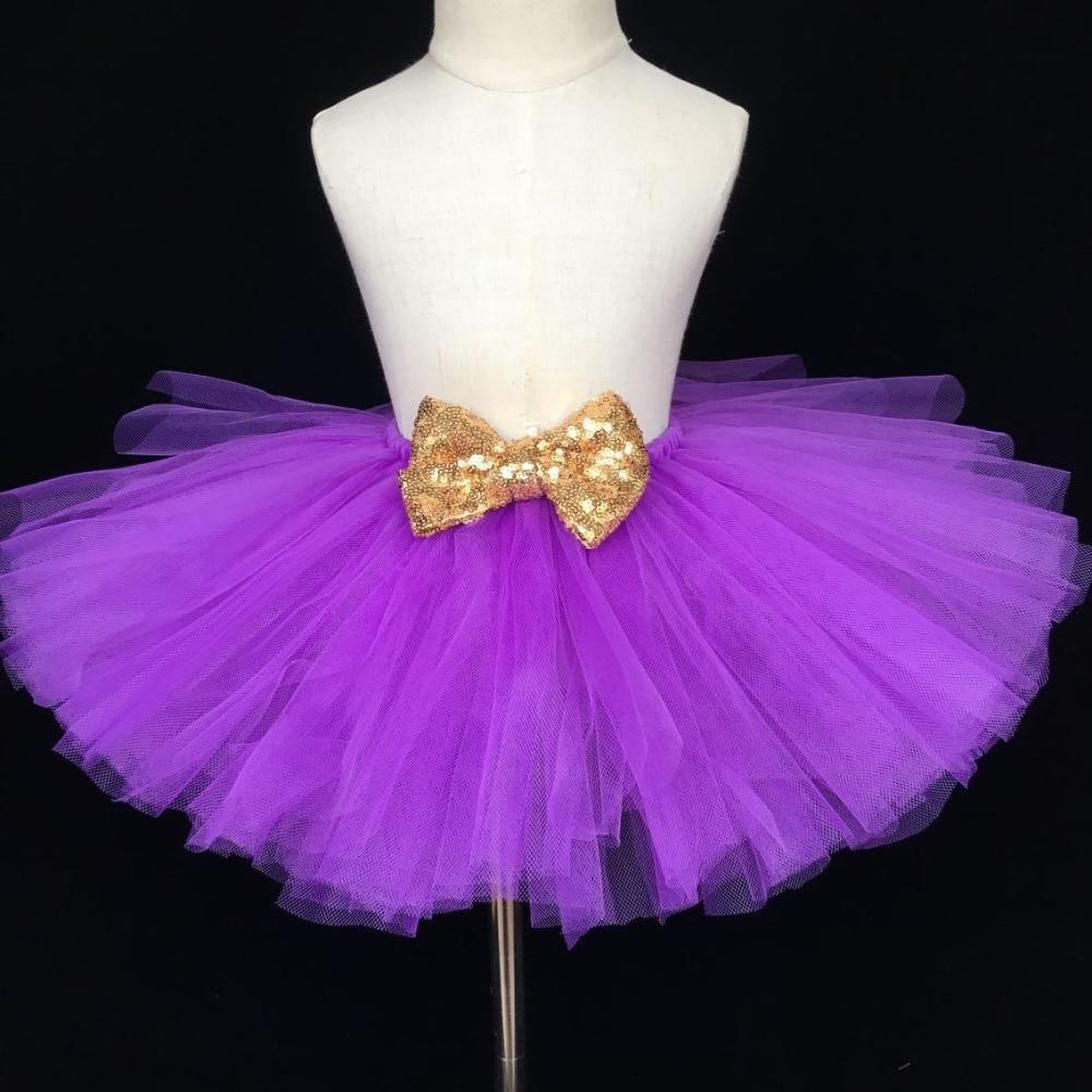Baby Girls Purple Tulle Skirt Kids Fluffy Tutu Skirts Ballet Dance Pettiskirts with Gold Sequin Bow Children Glitter Party Skirt novelty round neck brazil flag print asymmetrical dress for women