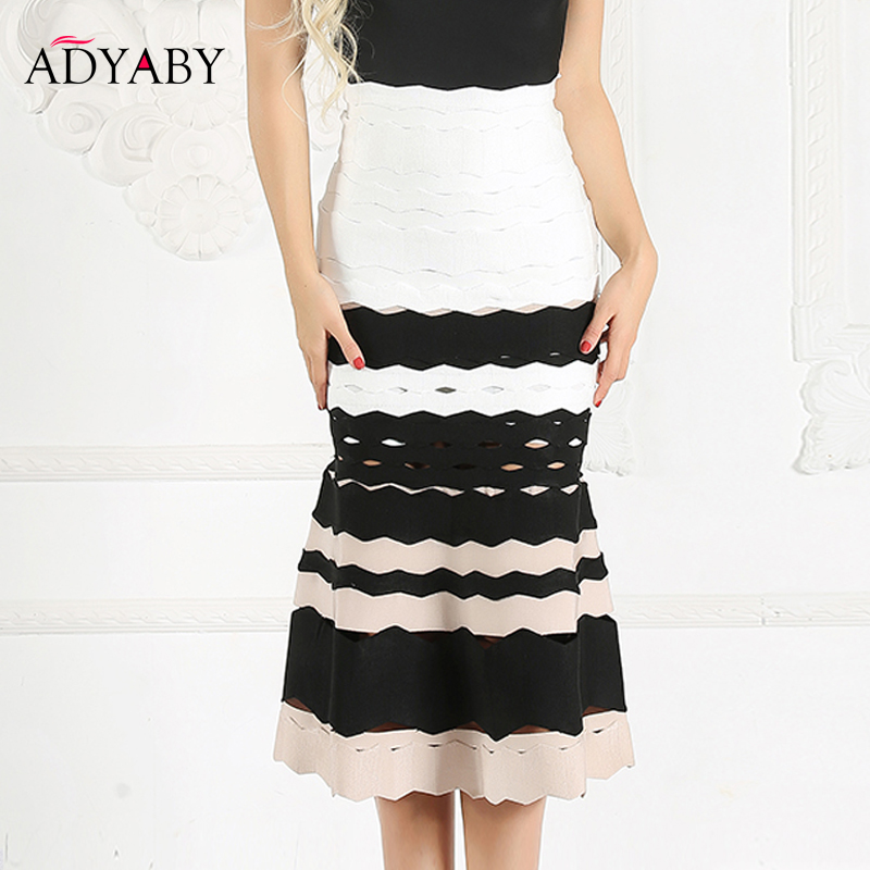 Mermaid Skirt For Women 2019 Summer New Sexy Bandage High Waist Skirts Ladies Celebrity Striped Midi