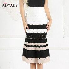 Русалка юбка для Для женщин новые летние пикантные повязки Высокая талия Юбки Дамы знаменитости Striped Midi Skirt красный черный, белый цвет