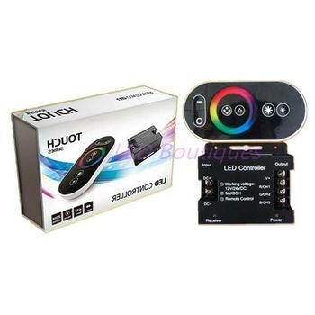 12-24V 18A RF zdalne sterowanie bezprzewodowe Panel dotykowy Panel RGB kontroler led kontroli dla 5050 3528 światło RGB kontroler RGB tanie i dobre opinie HCSOYES RF remote touch remote controller aluminum 2 years 432w 5050 3528 led strip ROHS Common Anode 12-24 v