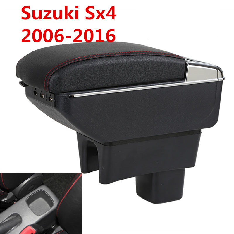 For SUZUKI SX4 armrest box central Store content box cup holder ashtray decoration interior car-styling accessories parts universal leather car armrest central store content storage box with cup holder center console armrests free shipping