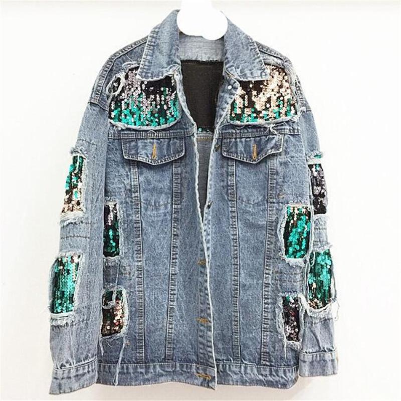Hot women's clothes 2018 Women Spring   basic     jackets   Autumn Long Sleeve   Basic   Coats Fashion Holes denim   jacket   for women