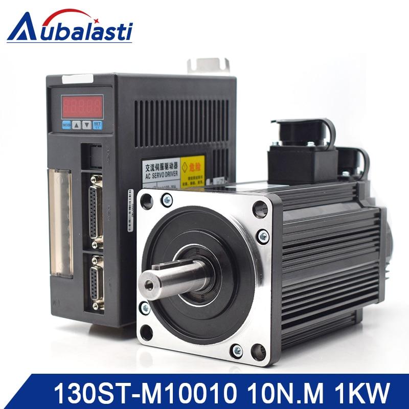 Aubalasti 1KW AC Servo Motor Driver 10N.M 1000RPM 130ST-M10010 AC Motor Matched Servo Motor Driver AASD 20A Complete Motor Kit