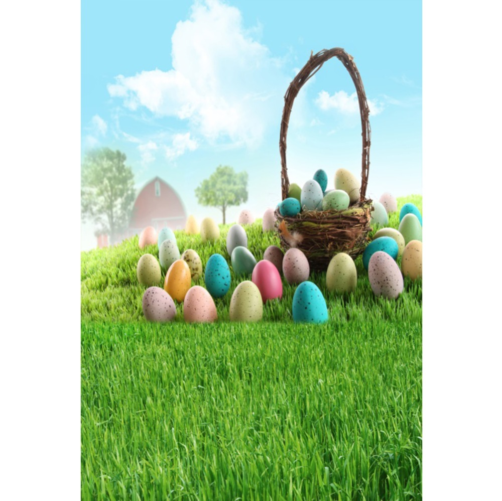 Laeacco Happy Easter Colorful Eggs Flowers Grassland Baby Natural Scenic Photo Background Photography Backdrops For Photo