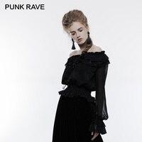 Punk Rave Gothic Gorgeous Transparent Sleeve Ruffled Boat Neck Lace Black Shirts Vintage Harajuku Elastic Waist