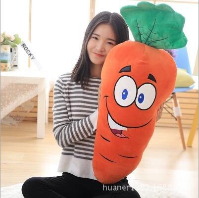 80cm Cute carrot face pillow soft plush toys vegetables carrot doll Girlfriend's gift grid carrot pants