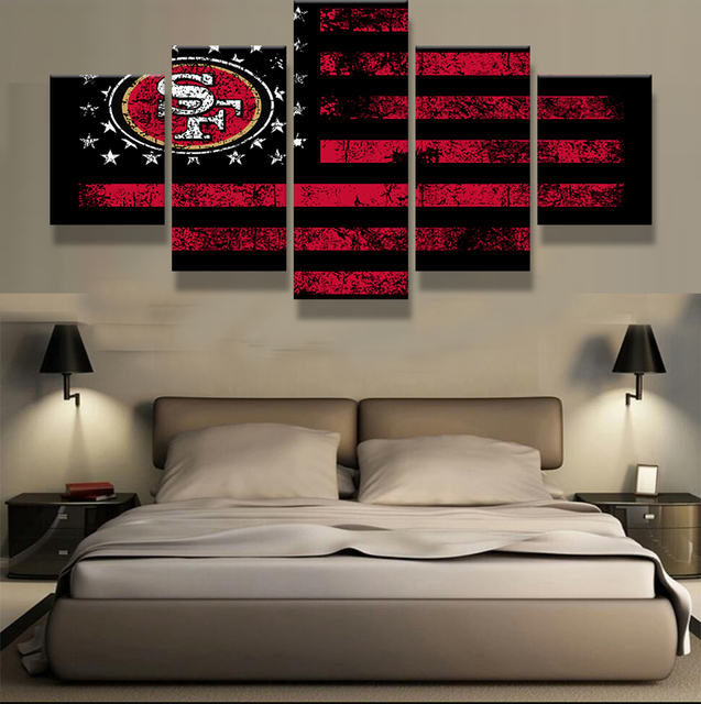 5 Panel/Set San Francisco 49ers Flag Logo Fans Canvas Painting Wall Art  Prints Home