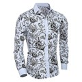 2017 New Spring Autumn Mens Floral Print Shirts Men Cotton Polyester Causal Turn Down Collar Shirts High Quality Plus Size Homme