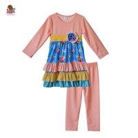תינוק שרוול ארוך בנות בוטיק תלבושות חמה למכירה CONICE ניני שמלת הדפסת פולקה נקודות צועד סטי בגדי ילדים לפרוע ורוד F156