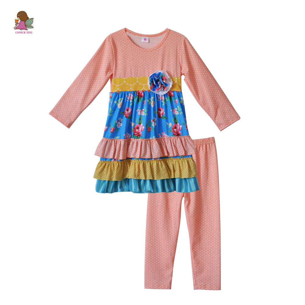 CONICE NINI Hot Sale Long Sleeve Baby Girls Boutique Outfits Print Dress Polka Dots Pink Legging Kids Ruffle Clothing Sets F156