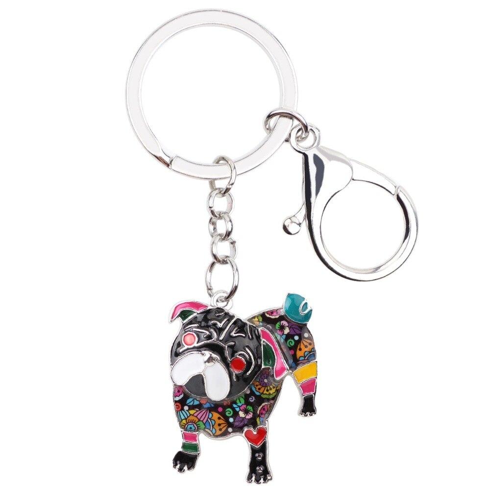 WEVENI Enamel Alloy Pug Dog Key Chain Bulldog Key Ring Handbag Charm New Fashion Jewelry For Women Man Car Keychain Accessories