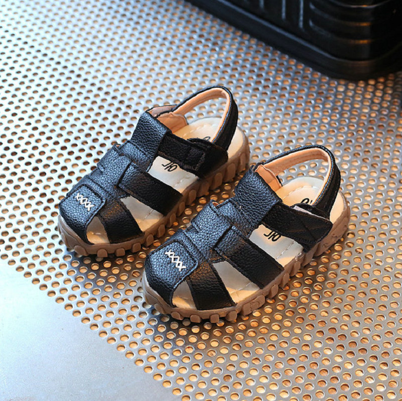Kids Beach Sandals 2018 New Summer Fashion Gentleman Baby Boys Sandal PU Lether Hot Sell Children Shoes Soft Soles Size 21~30