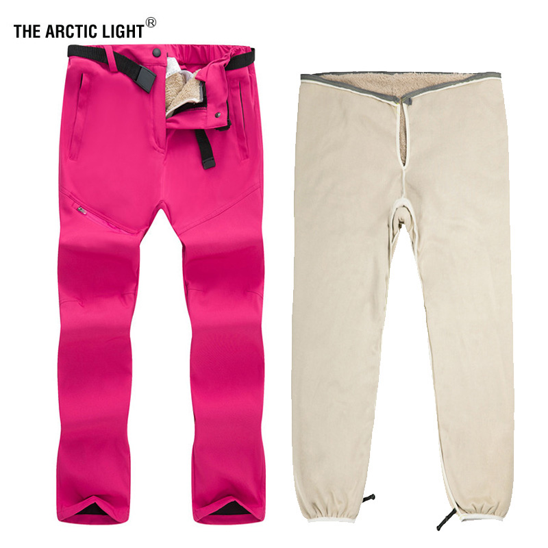 THE ARCTIC LIGHT Pants Women Ski Thick Warm Windproof Fleece Softshell Liner Removable Outdoor Hiking Skiing Trousers Winter