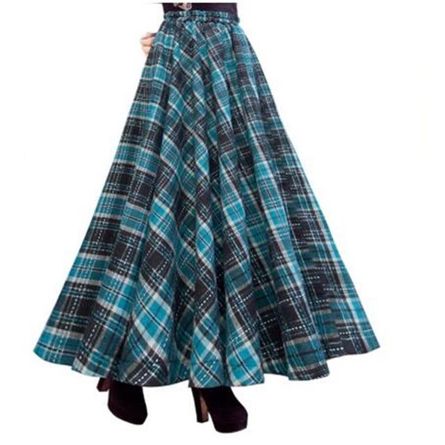 Falda Larga de la vendimia Mujeres Faldas Escocesas 663145f61fe4