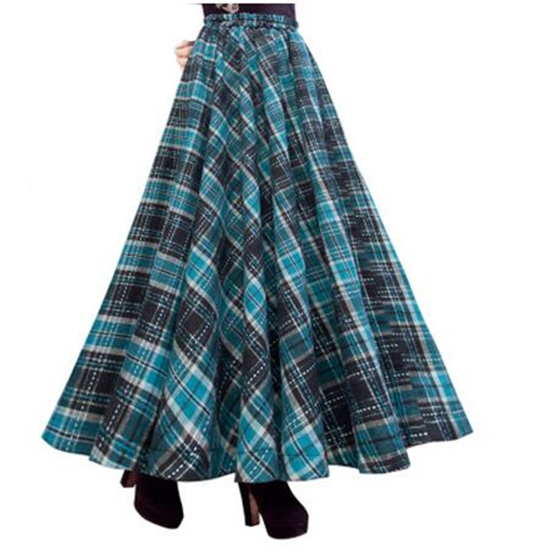 Vintage Long Skirt Winter Women Plaid Skirts,Saias,Faldas,High Waist Woolen Skirt Female Big Size Pleated Maxi Skirt Jupe C2292 dabuwawa woolen a line deep v split high waist plaid pleated skirt elegant suspender skirt sleeveless jumper skirts d17cdx009