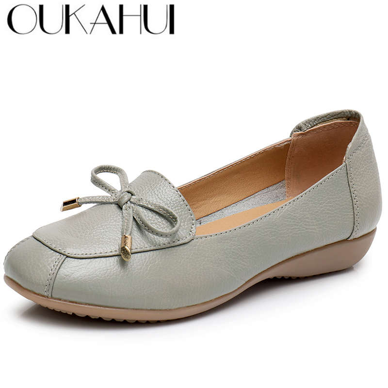 OUKAHUI Spring Genuine Leather Casual Shoes Womens Comfortable Flat Ladies Loafers Bowknot Soft Sole Non-slip Slip-on Flat Shoes