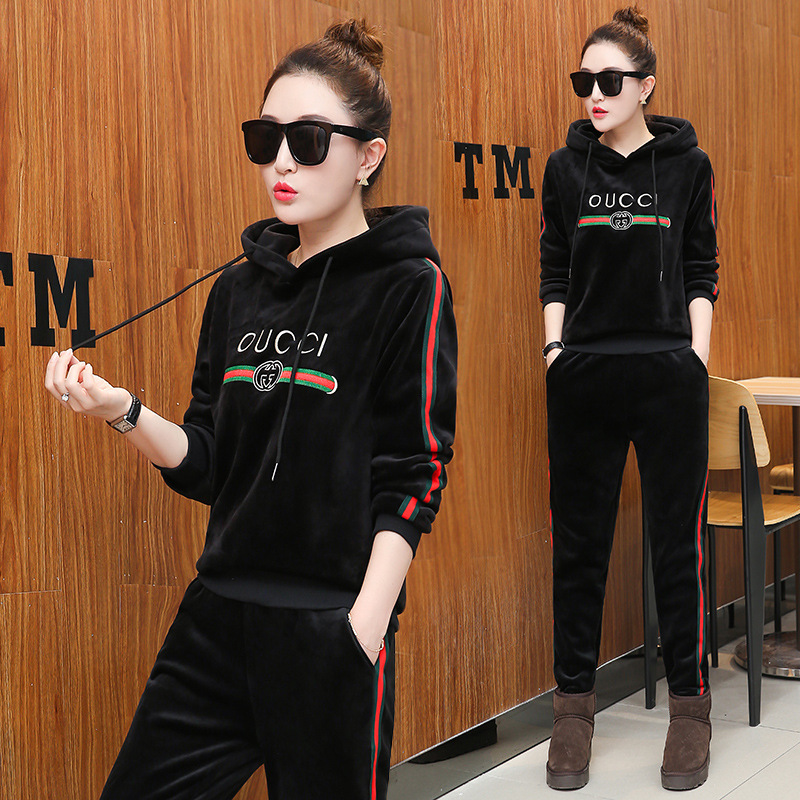 Women Tracksuit Sportswear Winter Fleece Velvet Thick hooded Hoodies Sweatshirt+pant Running Jogging Casual Set Sport Warm Suit brand 2017 hoodie new zipper cuff print casual hoodies men fashion tracksuit male sweatshirt off white hoody mens purpose tour