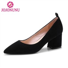 26905747c JOJONUN Sexy Plaid Bowtie Das Mulheres Reais de Couro Sapatos de Salto Alto  Mulheres Saltos Grossos