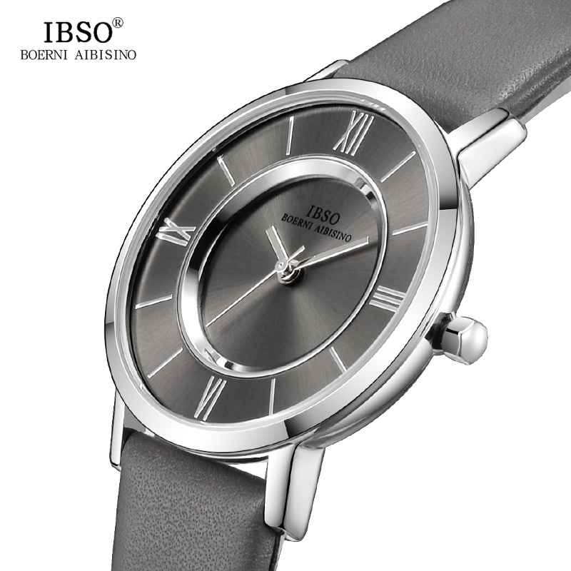IBSO New Brand 7 MM Ultra-Thin Women Watches 2018 Gray Genuine Leather Strap Ladies Watch Luxury Quartz Watch Women Montre Femme skmei women watches leather strap quartz woman wristwatches top brand luxury ladies watch small dial 2018 new style montre femme