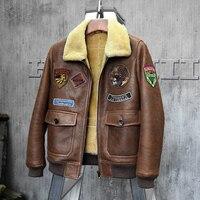 Для Мужчин's Дубленки куртка Короткая кожаная куртка мужская коричневая дубленка Авиатор шуба ягнят меха Верхняя одежда Flight Jacket