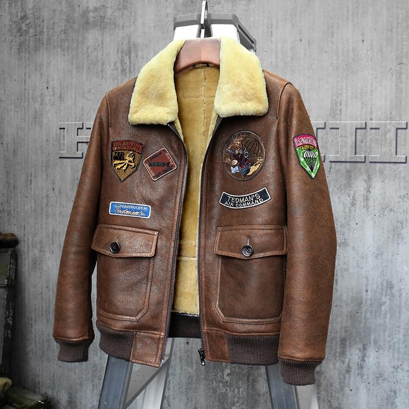 Men's Shearling Jacket Short Leather Jacket Mans Brown Sheepskin Aviator Fur Coat Lambs Fur Outerwear Flight Jacket