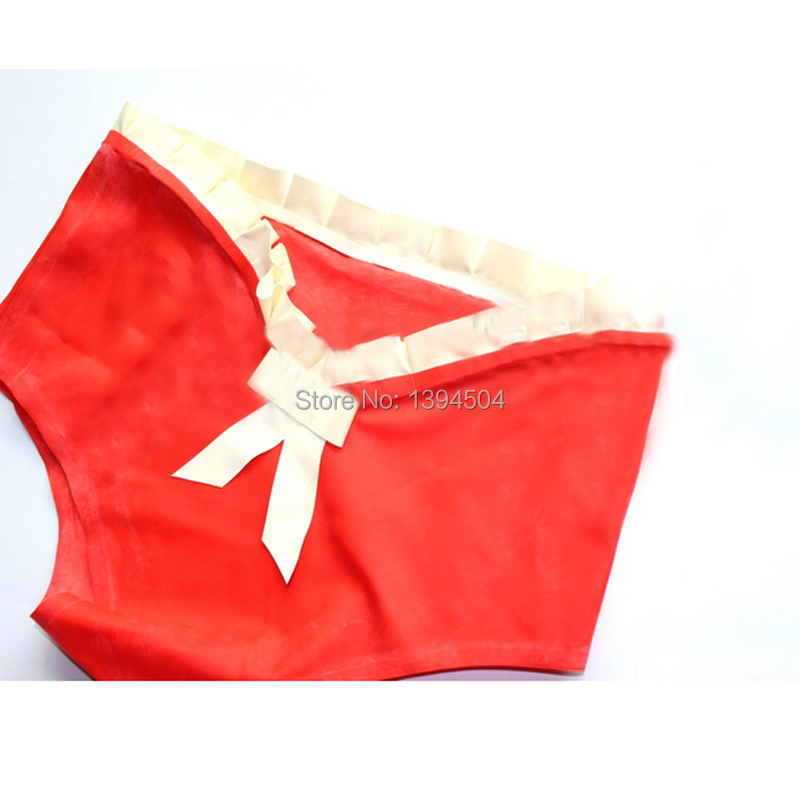 cute hot Women handmade Latex red spliced white Lingerie waist purfle shorts Underwear bow knot Fetish costume in Teddies Bodysuits from Novelty Special Use
