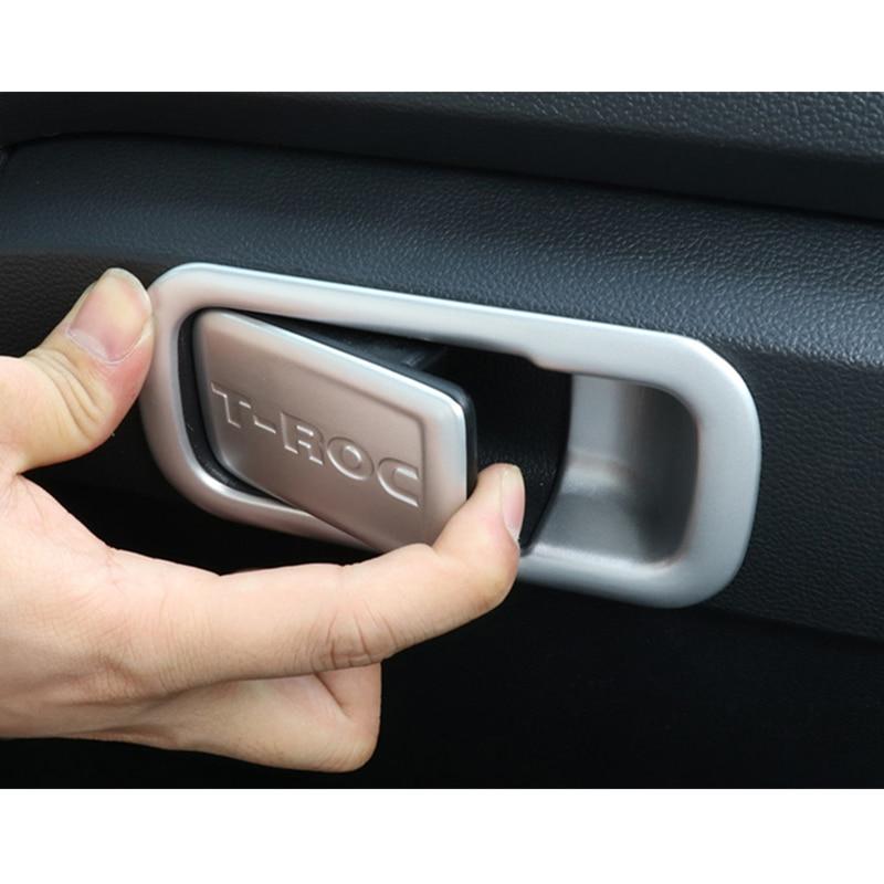 For Volkswagen VW T-ROC 2018 Carbon Fiber Interior Storage Box Handle Cover Trim