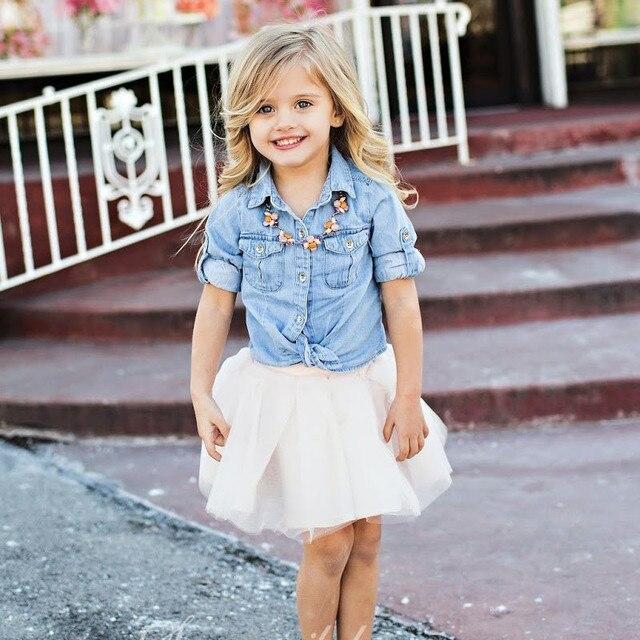 1d595820c7162 Mère fille correspondant chemise jupe vêtements ensembles femmes enfant  fille Tulle robe Denim t-shirt