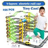 155PCS Set 7 Layers Electric Rail Car Rotary Building Model Kit Sets Train Track Slot Toy