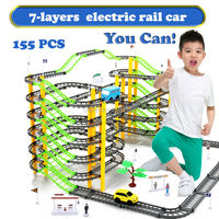 155PCS/Set 7 Layers Electric Rail Car Rotary Building Model Kit Sets Train Track Slot Toy Baby Educational Racing Orbit Cars