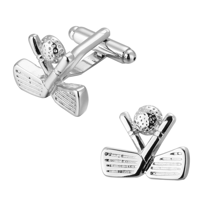 HYX Jewelry square Silver Golf metal Brand Cuff Buttons French Shirt Cufflinks For Mens Fashion Cuff Links