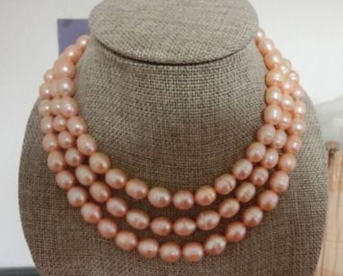 Livraison gratuite vente Chaude Noble->>>@@ Énorme AAA 11-13mm sud mer rose naturel perle collier Pouces fermoir
