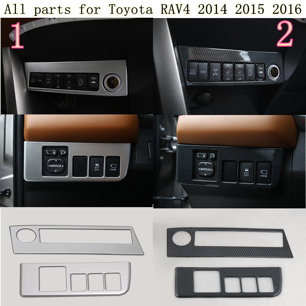 For Toyota RAV4 2014 2015 2016 car stick styling cover ABS Chrome front head light switch trim frame lamp moulding hoods 2pcs for toyota corolla altis 2014 2015 2016 car body styling cover detector abs chrome trim front up grid grill grille hoods 1pcs