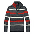 2015 свитера зимы хлопок стенд воротник полосатый человек свободного покроя одежда мужчин бренд - одежда A3135