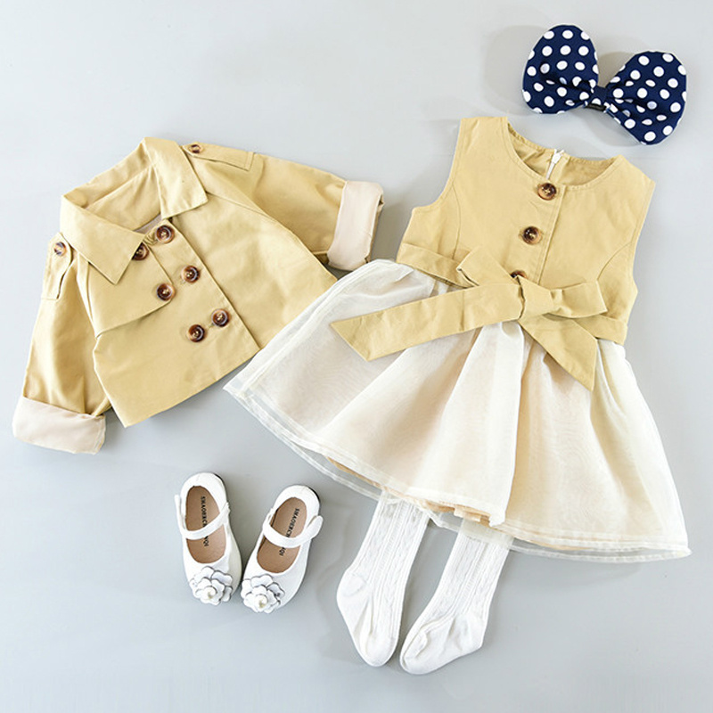 Humor Bear Baby Girl Clothes 2018 Autumn Girls Clothing Sets Kids Clothes Baby Bay clothes Toddler Girl coat + Dress 3-7Y baby toddler girl clothing kids girls clothes long sleeve princess set tutu dress pants autumn winter sets 1 2 3 4 years old 32
