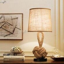 Lamparas de mesa industrial vintage de cuerda americana para sala de estar lámpara LED para la cama mesilla de noche Luz de mesa ligera lámparas Tafellamp dormitorio