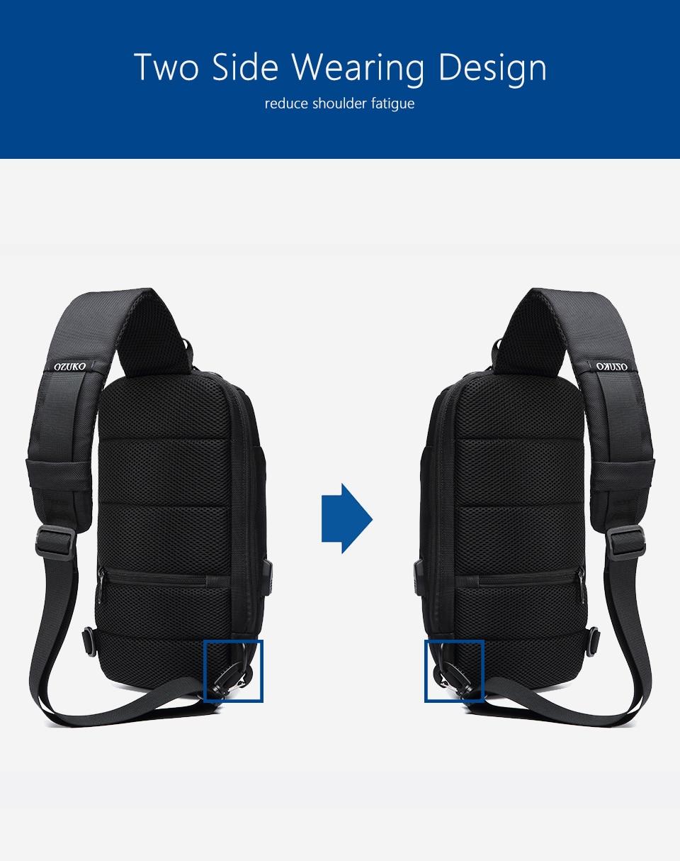 OZUKO Новая универсальная сумка через плечо для мужчин Противоугонная сумка через плечо мужская непромокаемая короткая сумка на грудь
