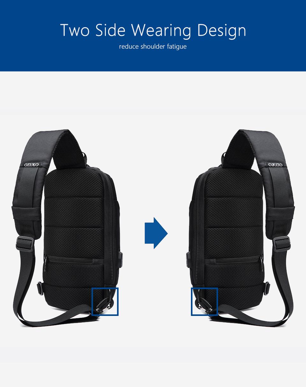 OZUKO 2019 New Multifunction Crossbody Bag for Men Anti-theft Shoulder Messenger Bags Male Waterproof Short Trip Chest Bag Pack 9