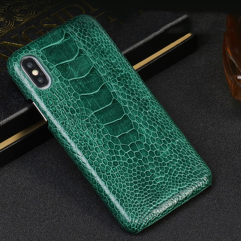 LANGSIDI coque de téléphone en cuir véritable pour iphone 11Pro max 6 7 8 8plus 5 5s SE Slim fit Anti-chute véritable housse en cuir d'autruche pour iphone XR XS MAX 11 étuis durs noirs