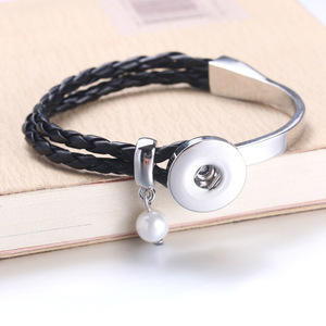 Metal Pearl Snap Leather Brace