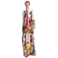 Best Selling Women's Bohemian Vestidos High Quality Long Sleeve Colorful Printed Plus Size 4XL Maxi Long Casual Runway Dress