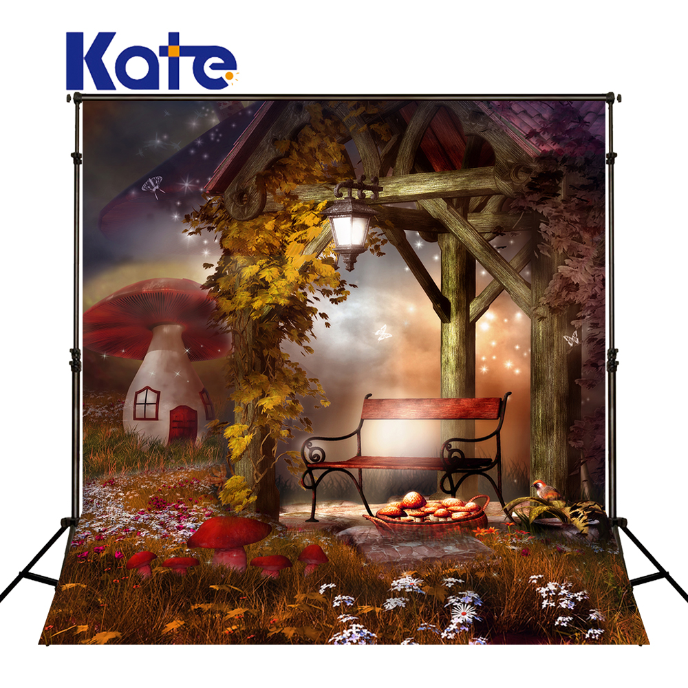 Kate Halloween Backdrop Children Backdrop Mushrooms Photography Backdrops Fairy Tale Background Garden View Backdrops for Studio