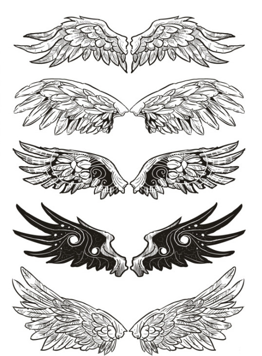 Waterproof Temporary Fake Tattoo Stickers Cool Black Grey Angel Wings Classic Design Body Art