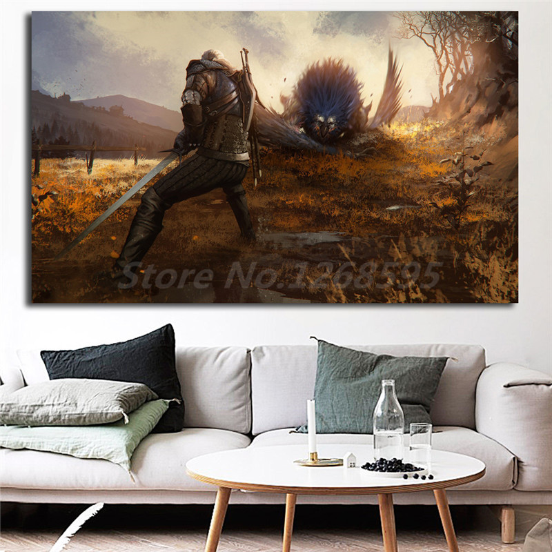 The Witcher 3 Wild Hunt Geralt Of Rivia Fighting Wallpaper Art Canvas Poster Painting Wa ...