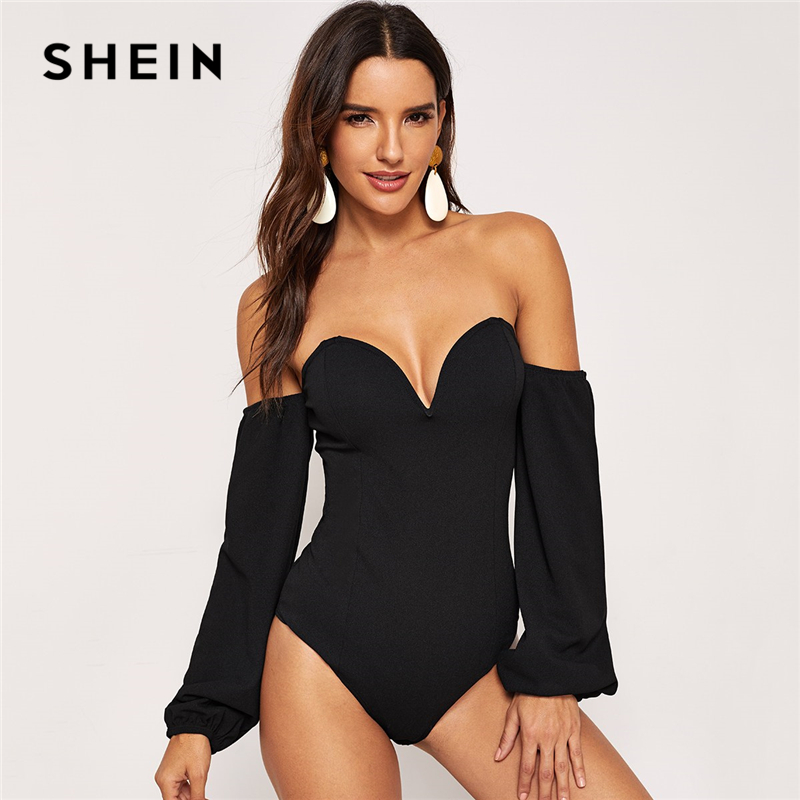 451e46a38e15 SHEIN Sexy Black Plunging Neck Bishop Sleeve Bardot Bodysuit Modern Lady Night  Out Long Sleeve Women