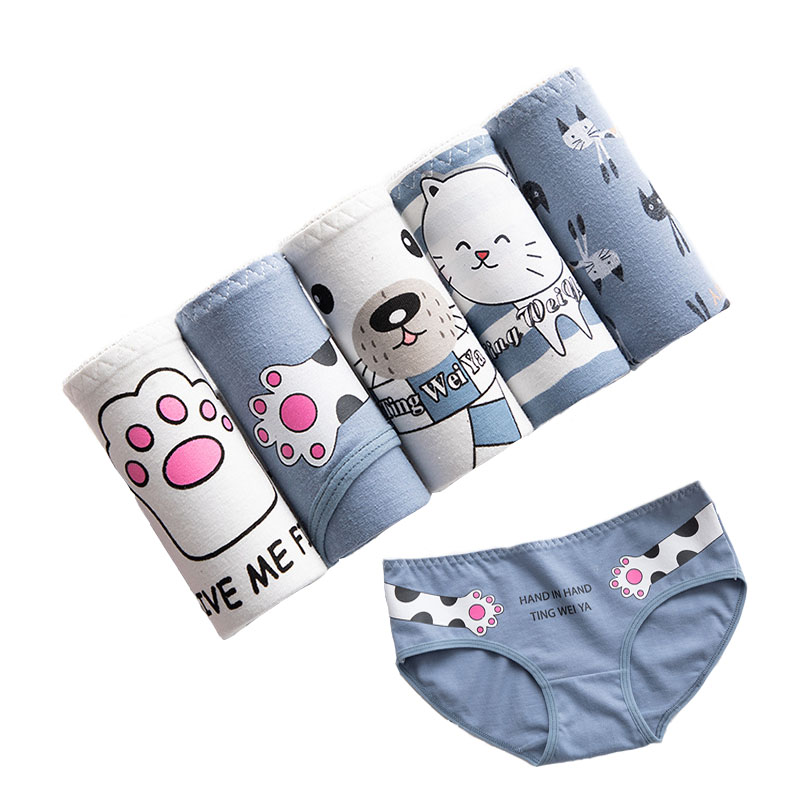 5Pcs/lot New   Panties   Women Underwear Cotton Briefs Seamless Cueca Calcinhas Shorts Printing Underpants Girls Cute   Panty   Thong