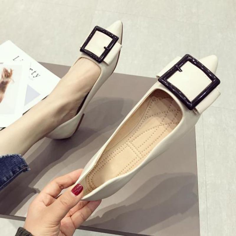 2019 noir Printemps Apricot Chaussures Plus De Taille Mode A629 Dames Noir Flats La Appartements Bateau Pointe Femmes Sfarndfq