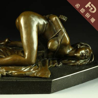 Sexy Erotic Sculpture Nude Girl Provocative Pose BRASS Statue Sculpture Sex Art Bind Garden Decoration 100% real Brass BRASS