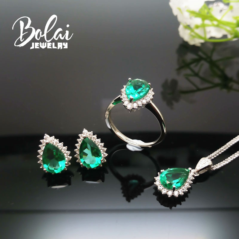 Bolaijewelry,Created green emerald pear 7*10mm 925 sterling silver fine jewelry for women best giftBolaijewelry,Created green emerald pear 7*10mm 925 sterling silver fine jewelry for women best gift